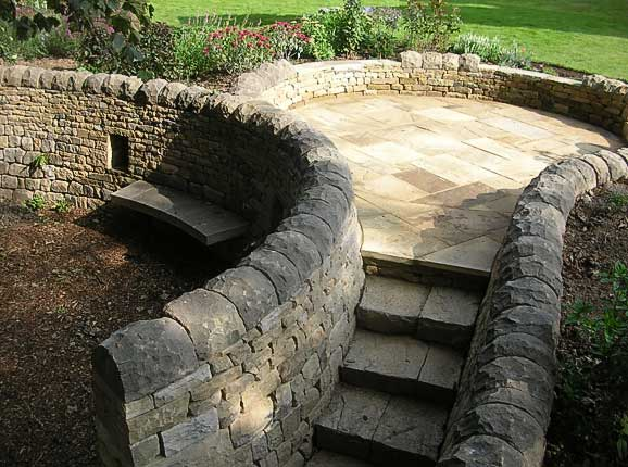 Garden features neil beasley dry stone walling dry stone walling garden features circular seating area and steps workwithnaturefo